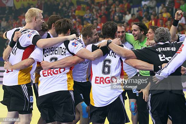 Germany celebrates after winning the Men's European Handball Championship group B match between Germany and Sweden at Cair Sports Centre on January...