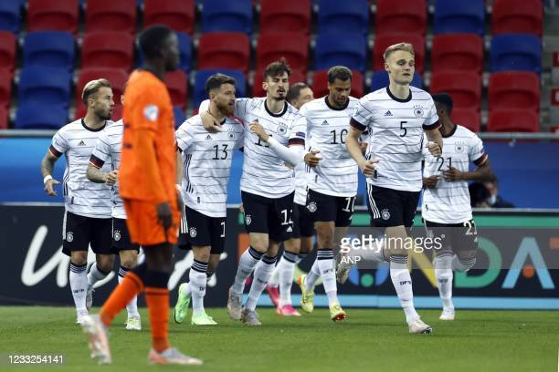 Germany celebrates Germany's Florian Wirtz 1-0 during the UEFA EURO U21 semifinal match between Netherlands U21 and Germany U21 at Arena Sosto on...