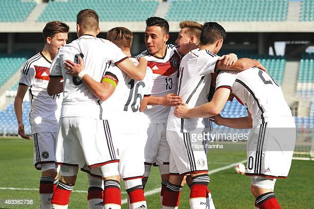 Germany celebrates the early goal during the U17 Algarve Cup match between Germany and Portugal at Algarve Stadium on February 13 2015 in Faro...