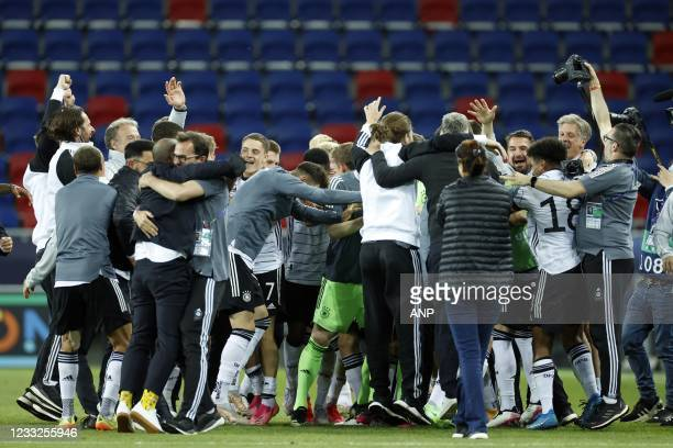 Germany celebrates victory during the UEFA EURO U21 semifinal match between Netherlands U21 and Germany U21 at Arena Sosto on June 03, 2021 in...