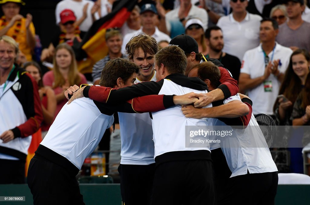 Germany celebrates victory over Australia after Alexander Zverev of Germany defeated Nick Kyrgios of Australia during the Davis Cup World Group First Round tie between Australia and Germany at Pat Rafter Arena on February 4, 2018 in Brisbane, Australia.