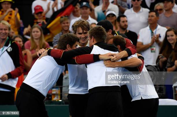 Germany celebrates victory over Australia after Alexander Zverev of Germany defeated Nick Kyrgios of Australia during the Davis Cup World Group First...