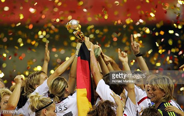 Germany celebrates winning the FIFA Women's World Cup 2007 after defeating Brazil 20 at Shanghai Hongkou Football Stadium on September 30 2007 in...