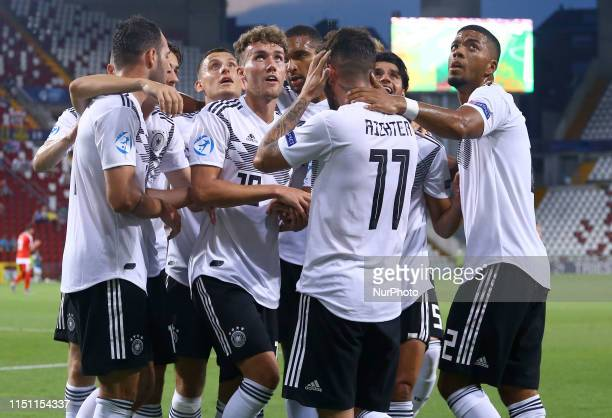 Germany celebration during the UEFA Under 21 Championship Group B match Germany v Serbia at the Nereo Rocco Stadium in Trieste Italy on June 20 2019