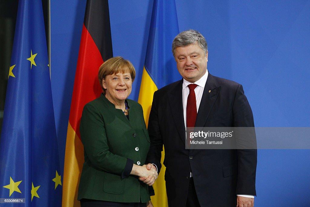 Merkel Meets With Ukrainian President Poroshenko