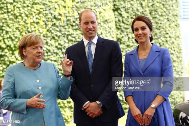 Germany Chancellor Angela Merkel welcomes Catherine Duchess of Cambridge and Prince William Duke of Cambridge in the courtyard of the german...