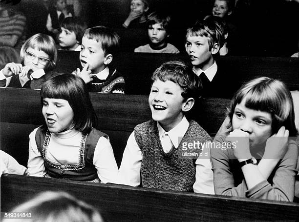 Germany children watching a play in the childrens theater in Berlin spectators