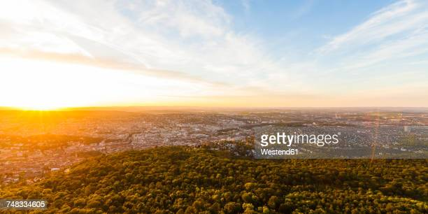 germany, cityscape of stuttgart at sunset - gegenlicht stock-fotos und bilder
