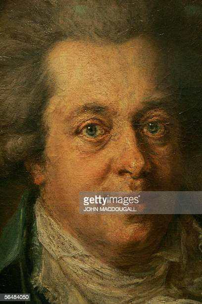 Close up of a portrait of Austrian Composer Wolfgang Amadeus Mozart by German painter Johann Edlinger hangs in Berlin's Gemaeldegalerie 20 December...