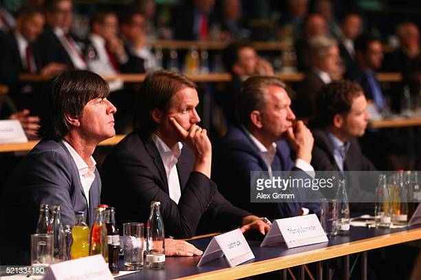 Germany coach Joachim Loew and his assistants Thomas Schneider Andreas Koepke and Marcus Sorg attend the extraordinary DFB Bundestag at Congress...