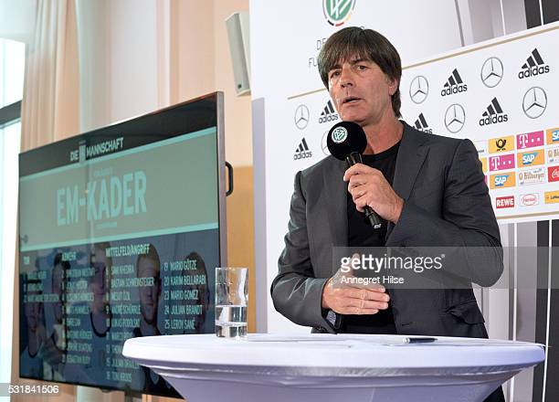 Germany coach Joachim Loew talks during a press conference to announce the German UEFA EURO 2016 squad at the French Embassy on May 17 2016 in Berlin...