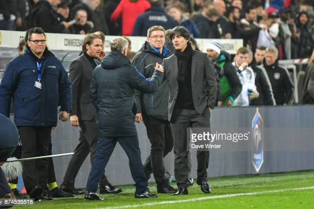 Germany coach Joachim Low and France coach Didier Deschamps shake hands at the end of the international friendly match between Germany and France at...
