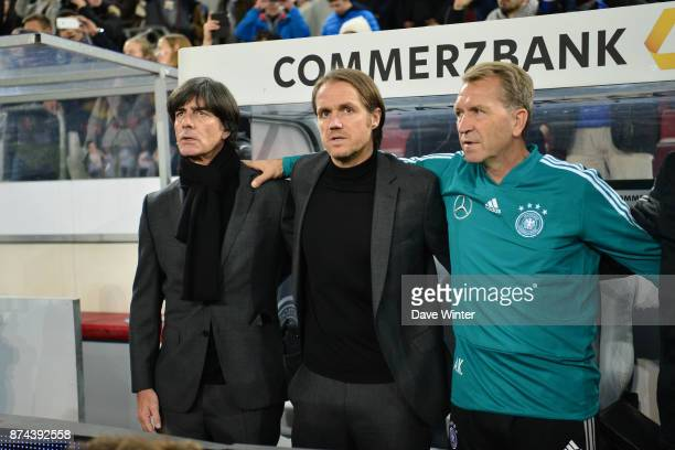 Germany coach Joachim Low Germany assistant coach Marcus Sorg and Germany goalkeeping coach Andreas Kopke during the international friendly match...