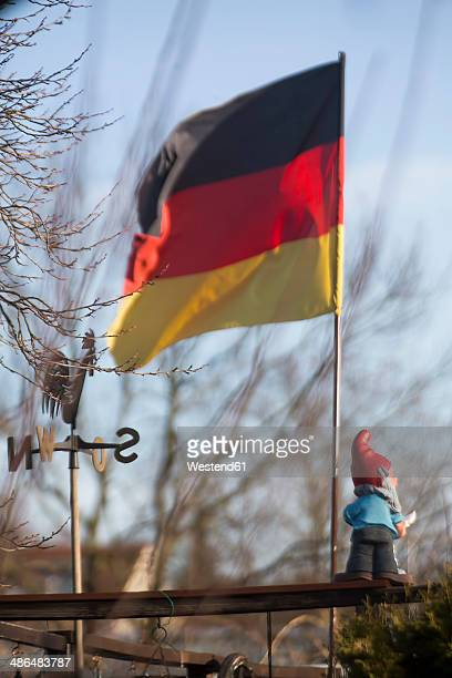 Germany, Cologne, allotment, flag and garden gnome