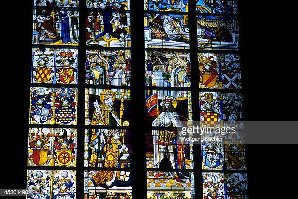 Germany Cologne Cathedral Interior Stained Glass Window North Side Detail