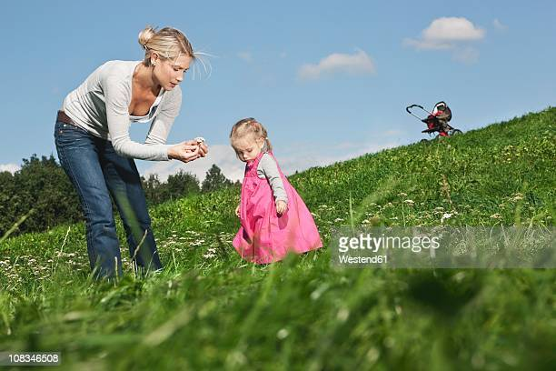 germany, cologne, mother showing flower to her daughter (2-3 years) - 30 34 years stock-fotos und bilder