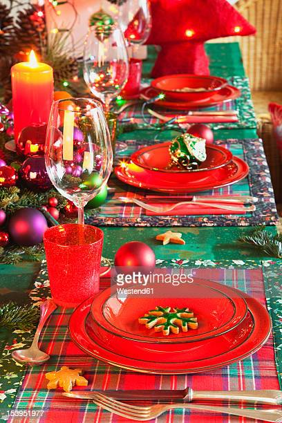 Germany, Cologne, Place setting at dining table for christmas