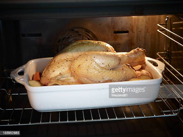 Germany, Cologne, Roast chicken in oven, close up