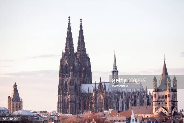 germany, cologne, view to city hall, cologne cathedral and gross sankt martin - cologne cathedral stock photos and pictures