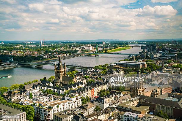 germany, cologne, view to cityscape with gross sankt martin and city hall from above - cologne stock pictures, royalty-free photos & images