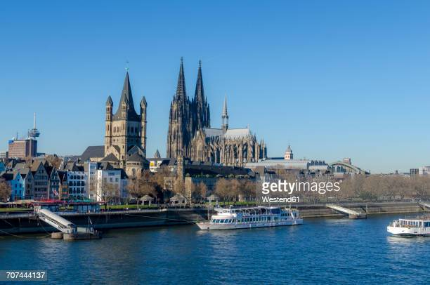 germany, cologne, view to gross sankt martin and cologne cathedral - cologne cathedral stock photos and pictures