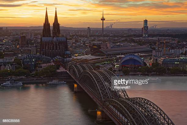 Germany, Cologne, view to the city from above at evening twilight