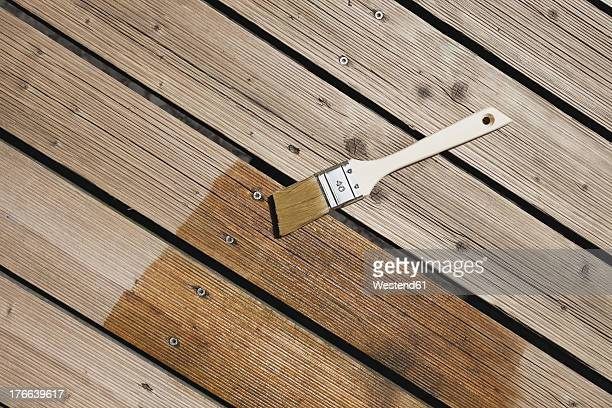 Germany, Cologne, Wood panel with paint brush