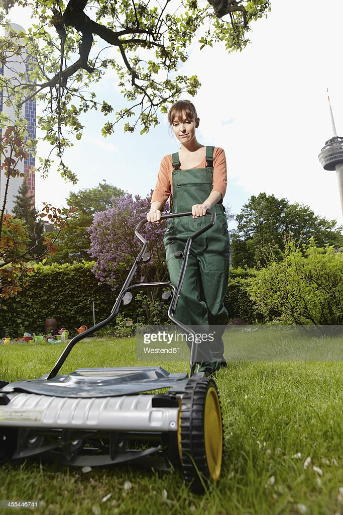 Woman Lawn Mower Stock Images - Download 463 Royalty Free