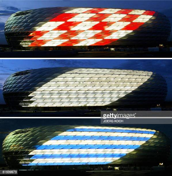 Combo shows thre versions of the illuminated facade of the AllianzArena football stadium in Munich 21 October 2004 During a first check the function...