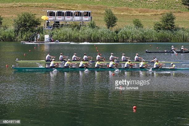 Germany competes with Great Britain in the Men's Eight Final A during Day 3 of the 2015 World Rowing Cup III on Lucerne Rotsee on July 12 2015 in...