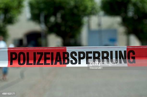 Germany, Constance, Close up of police barrier tape