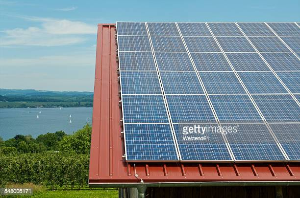 Germany, Constance, Lake Constance, Solar panel on roof of a barn