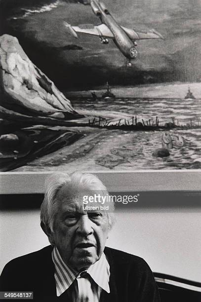 Germany Dangast artist painter Franz Radziwill in front of his painting