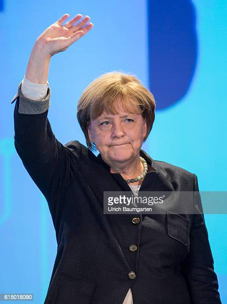 Germany Day of the Young Union in Paderborn Federal Chancellor Angela Merkel waving after her speech