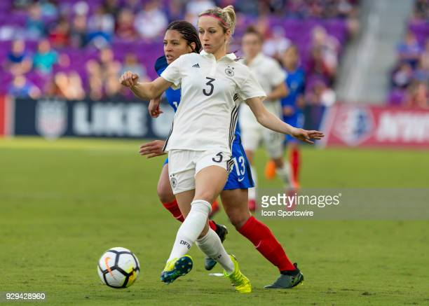 Germany defender Kathrin Hendrich passes the ball SheBelieves Cup between Germany and France on March 7th 2017 at Orlando City Stadium in Orlando FL