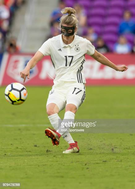 Germany defender Verena Faißt shoots on goal during the SheBelieves Cup between Germany and France on March 7th 2017 at Orlando City Stadium in...