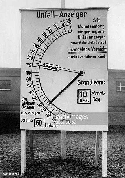 Germany Display shows the quantity of accidents in an industrial firm an helps to provide more accidents undated Photographer PresseIllustrationen...