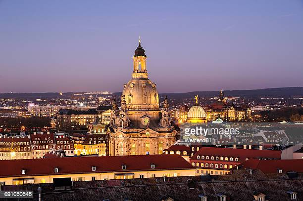 Germany, Dresden, Church of Our Lady in the evening