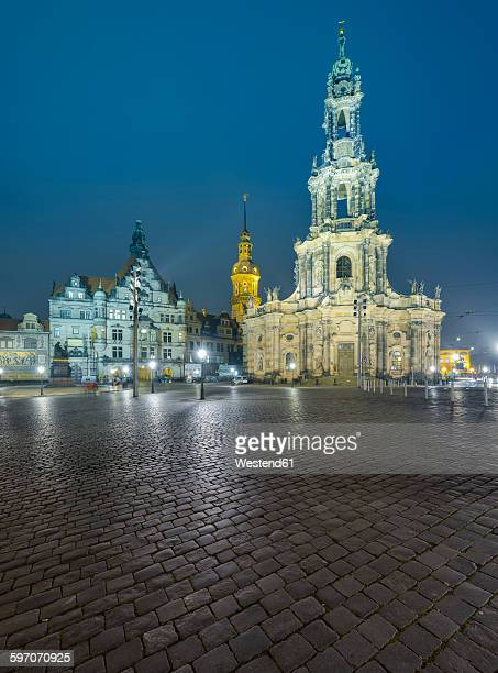 Germany, Dresden, Dresden Cathedral, Dresden Castle, Georgenbau in the evening