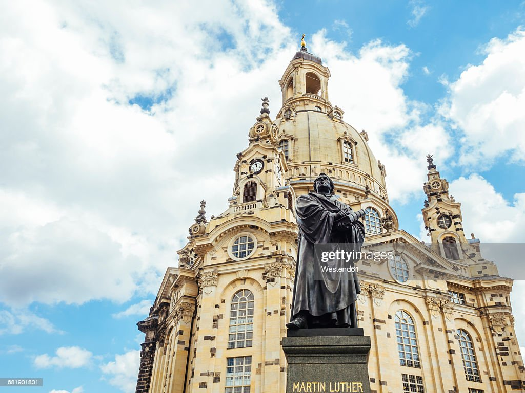 Germany, Dresden, Dresden Frauenkirche and statue of Martin Luther in the foreground : Stock Photo