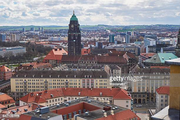 Germany, Dresden, View of Townhall tower and Ore Mountains