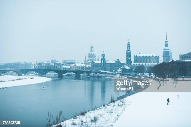 Germany, Dresden, view to the city with Dresden Frauenkirche and Elbe river in winter
