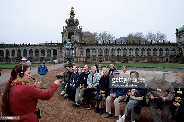 Germany Dresden Zwinger Baroque Architecture Tour Group Guide Explaining
