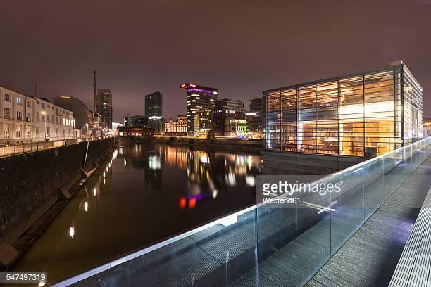 Germany, Duesseldorf, media harbor at night