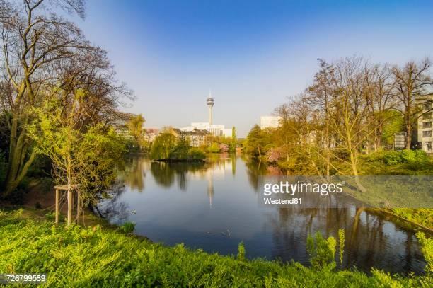 Germany, Duesseldorf, Schwanenspiegel, cityscape with Rhine Tower