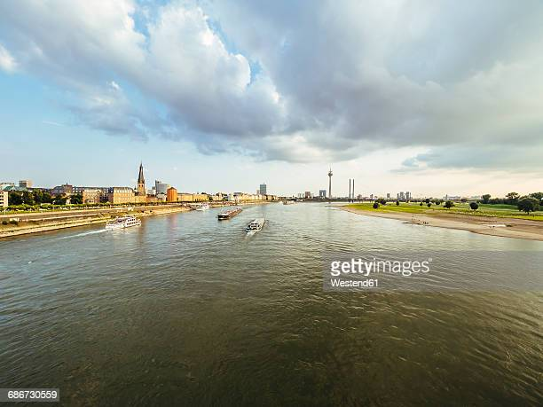 Germany, Duesseldorf, skyline with Rhine River in the foreground