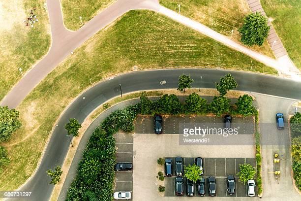 Germany, Duessseldorf, aerial view of a car park