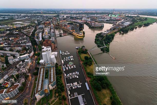 germany, duessseldorf, aerial view of media harbor - medienhafen stock-fotos und bilder