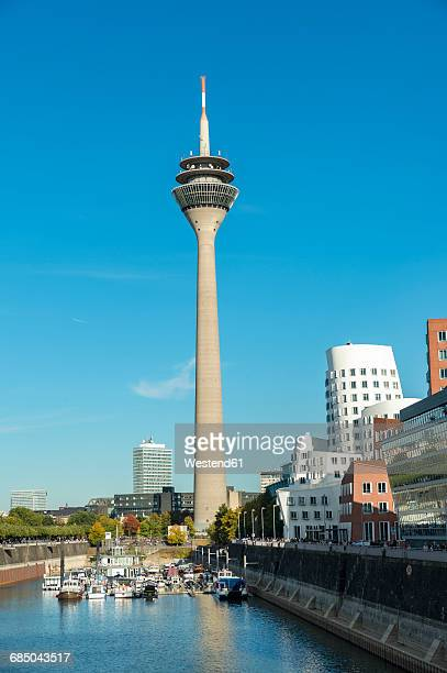 Germany, Dusseldorf, Gehry Buildings and television tower at Media Harbour
