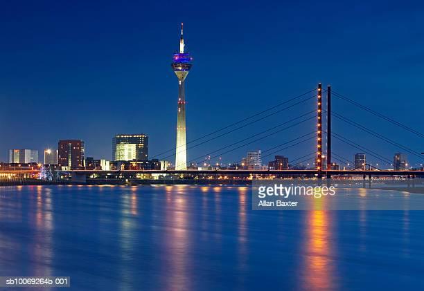 Germany, Dusseldorf, Karlstadt and Rhine at night